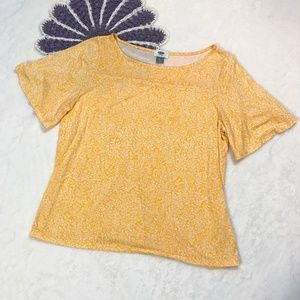 Old Navy Yellow Floral Flowy Top Medium